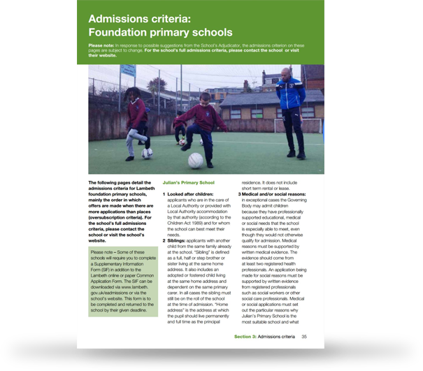 Adrian on the Lambeth Schools Admissions Document